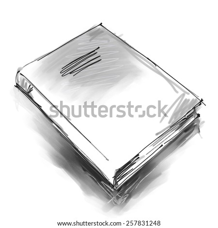 art digital graphic painted one book isolated on white background