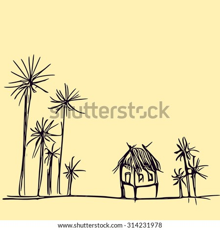 art draw home in forest , countryside Thailand   - stock photo