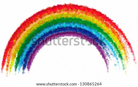 Art drawing rainbow abstract paint isolated background - stock photo