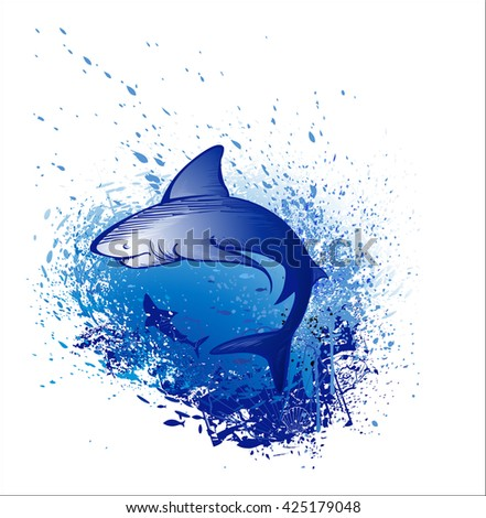 Art drawn by a great white shark swims in the deep blue sea.Tattoo style. Gothic style.   Style sketch. Sea creatures.  - stock photo