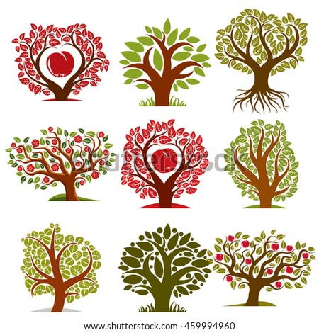 art drawn trees with ripe apples and beautiful red blossom. Harvest season idea eco symbols, can be used as ecology and environmental conservation concept. - stock photo