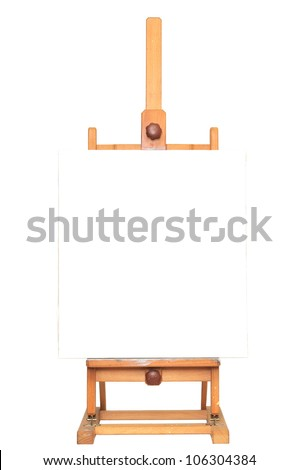 Art easel with empty canvas for adding text or image - stock photo