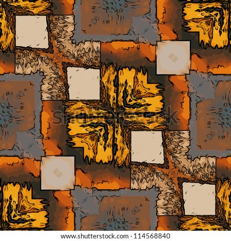 art eastern national traditional pattern in yellow, orange, grey,, beige, brown and black colors - stock photo