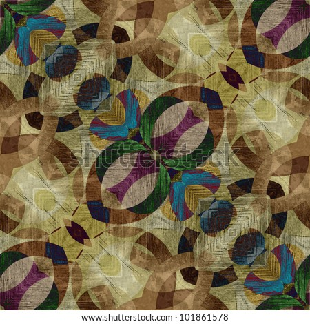 art eastern national traditional seamless pattern, background in beige, blue, green, violet and brown colors - stock photo