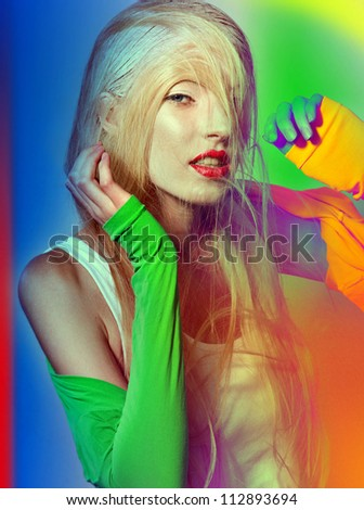 art fashion model red lips different color sleeves - stock photo