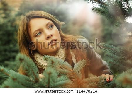 Art fashion portrait of beautiful woman, fantasy surprise concept - stock photo