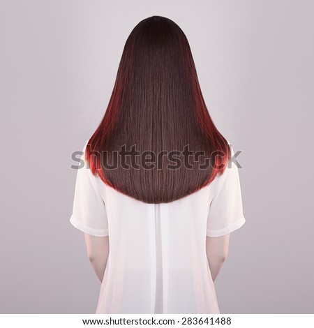 art fashion portrait of women beautiful healthy long hair.back of brunette girl.red hair of young woman - stock photo