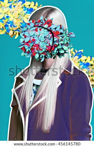 art fashion portrait vogue blond sexy model fine collage with no face - stock photo