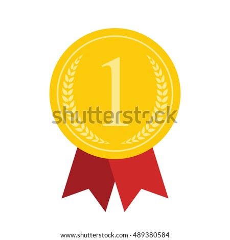 Art Flat Gold Medal for Web, app, sign, 1 First Place. Vector Illustration. EPS10