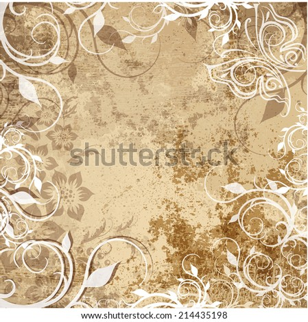 art floral ornamental grunge background in sepia and brown colors - stock photo
