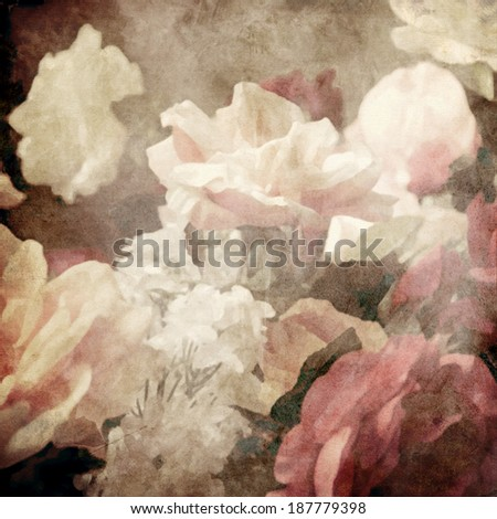art floral vintage background with white roses in sepia