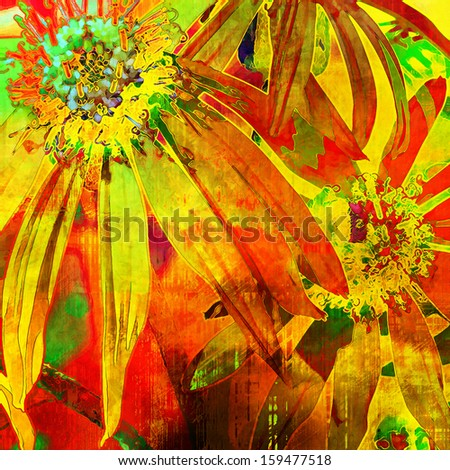 art floral vintage bright yellow, gold, red and green background with asters
