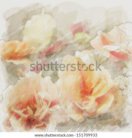 art floral vintage watercolor background with light orange and white roses