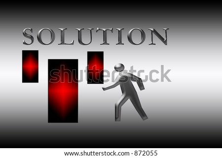 Art for background : Word solution with a figure approaching a door