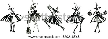 Art freehand watercolor sketch outline illustration collage of five black halloween holiday symbol character of funny witch in dress and hat with pumpkins and broom on white background, horizontal - stock photo
