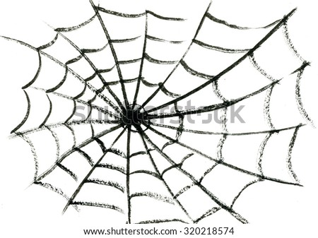 Art freehand watercolor sketch outline illustration of one black halloween holiday spider's fragile cobweb on white empty background - stock photo