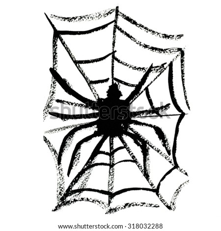 Art freehand watercolor sketch outline illustration of one black halloween holiday spider sitting on fragile cobweb on white background, square picture - stock photo