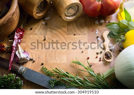 art fresh vegetables and spices on the wooden background; food recipes - stock photo