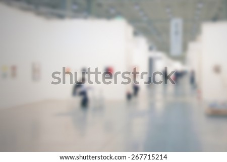 Art gallery background. Intentionally blurred editing post production. - stock photo