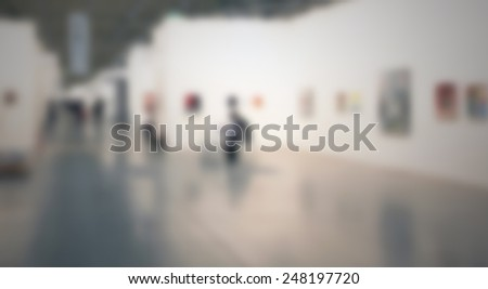 Art gallery background. Intentionally blurred post production. - stock photo