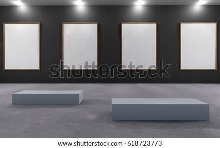 Art Gallery Exhibition blank placard / 3d rendering