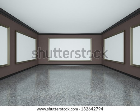 art gallery interior with blank poster - stock photo