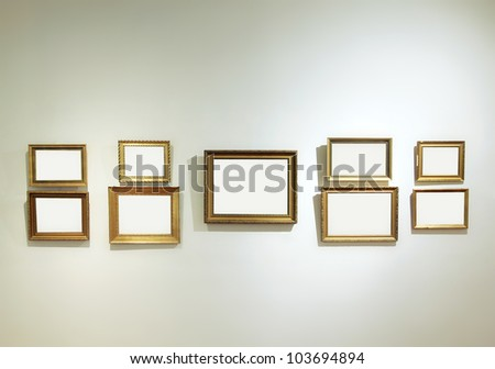 Art gallery interior with empty frames