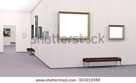 Art gallery interior with framed pictures including two white copyspace canvases. Rendered 3d design.