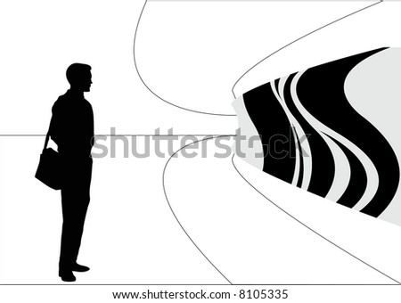art gallery with male silhouette - stock photo