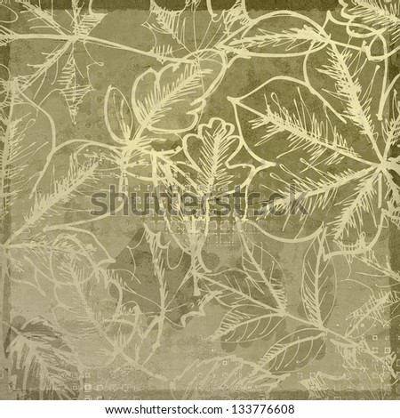 art graphic autumn leaves monochrome background card in olive grey and beige colors