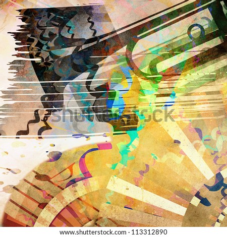 art grunge background with  trumpet silhouette - stock photo