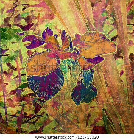 art grunge floral vintage background in green, yellow. orange and brown colors with colorful iris - stock photo