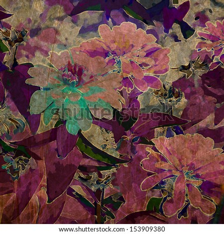 art grunge floral vintage background in purple, violet and pink colors - stock photo