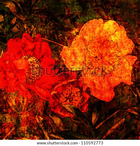 art grunge floral vintage background with bright gold orange and red peonies and gold on dark brown basis