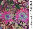 art grunge floral vintage sketching background - stock photo