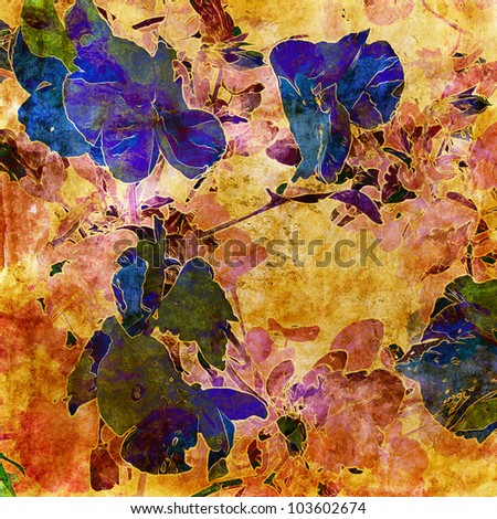 art grunge floral vintage watercolor background with violets in warm beige, old gold, rust, green and blue colors - stock photo