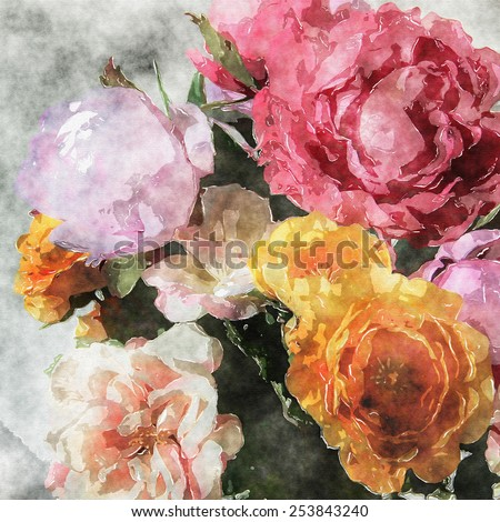 art grunge floral warm sepia vintage watercolor background with white, tea, yellow, purple and pink roses and peonies - stock photo