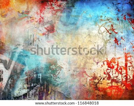 Art grunge illustration, colorful background - stock photo