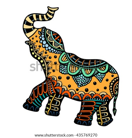 art hand-drawn color tattoo doodle with decorated Indian Elephant