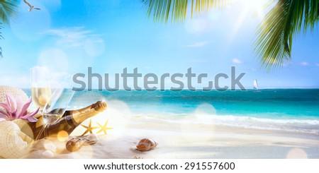 art honeymoon party on the tropical beach - stock photo