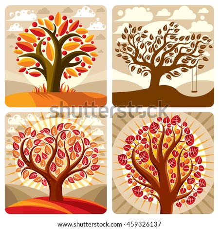 Art illustration of orange trees growing on beautiful meadow, stylized eco autumn landscape with clouds. botany element on harvest season idea, spring time idyllic picture.