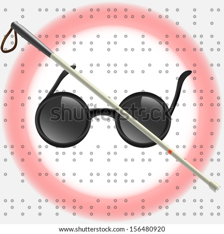 Art Illustration of white stick and glasses for visually impaired (vector version also available) - stock photo
