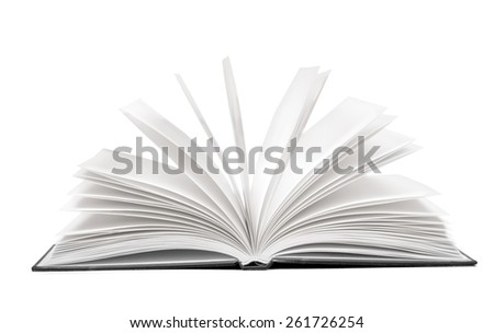 Art. Image of opened magic book with magic lights - stock photo