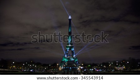Art Installation Lights Up Eiffel Tower on Eve of Paris Climate Talks(during cop21 United nations conference on climate change 2015-11-30-2015-1211) - stock photo