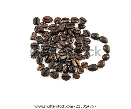 Art made from coffee beans on a white background