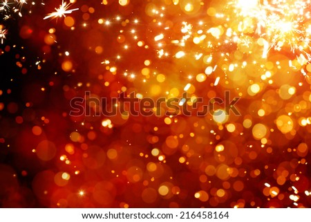 Art magic Christmas Background. Golden Holiday Abstract Glitter Defocused Background With Blinking Stars - stock photo
