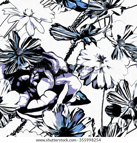 art monochrome graphic vintage floral seamless pattern with black, white and blue asters isolated on white  background