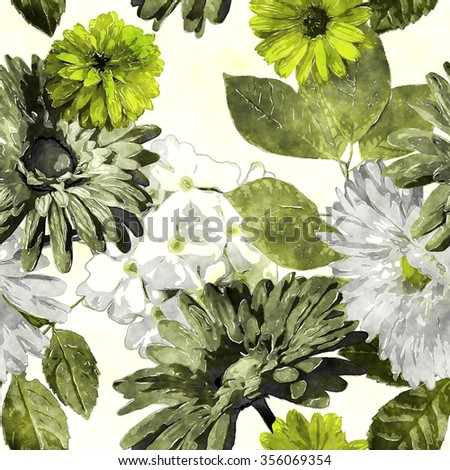 art monochrome green watercolor vintage floral seamless pattern with asters, gerbera and phlox on white background