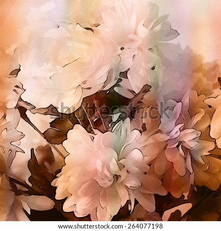 art monochrome grunge floral watercolor paper textured background with white asters  in white, light orange and brown colors - stock photo