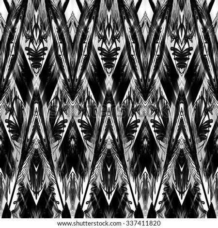 art monochrome ornamental ethnic styled horizontal seamless pattern with symmetrical zigzag; blurred watercolor background in black and white colors. Pat 9 - stock photo